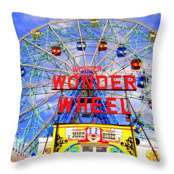 The Coney Island Wonder Wheel Throw Pillow by Ed Weidman