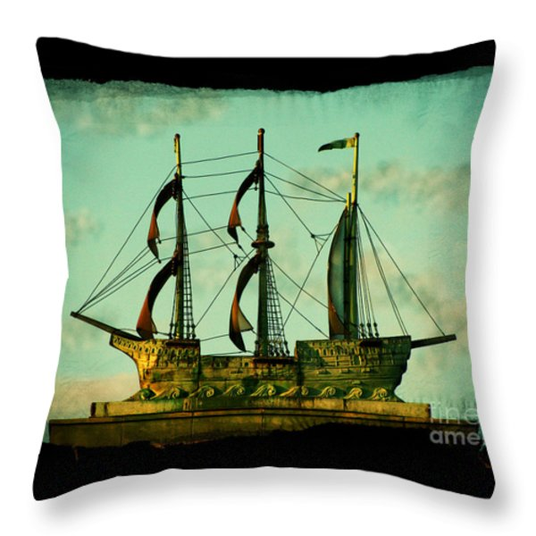 The Copper Ship Throw Pillow by Colleen Kammerer