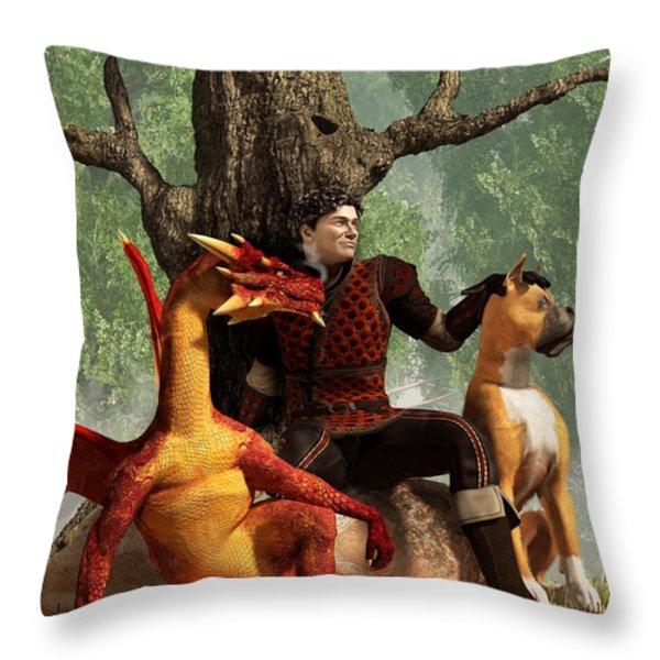 The Courageous Hunters Throw Pillow by Daniel Eskridge
