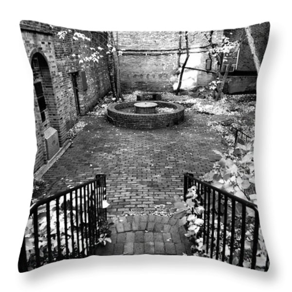 The Courtyard at the Old North Church Throw Pillow by John Rizzuto