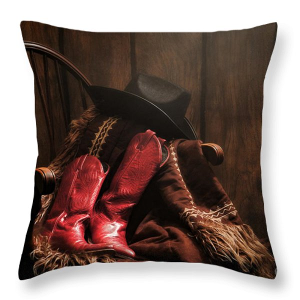 The Cowgirl Rest Throw Pillow by Olivier Le Queinec
