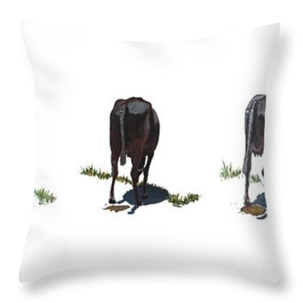 The Cows Throw Pillow by Usha Shantharam