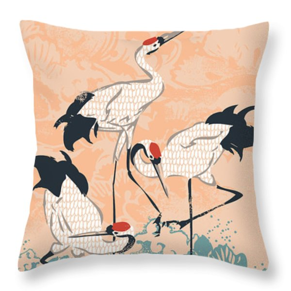 The Cranes Throw Pillow by Budi Satria Kwan