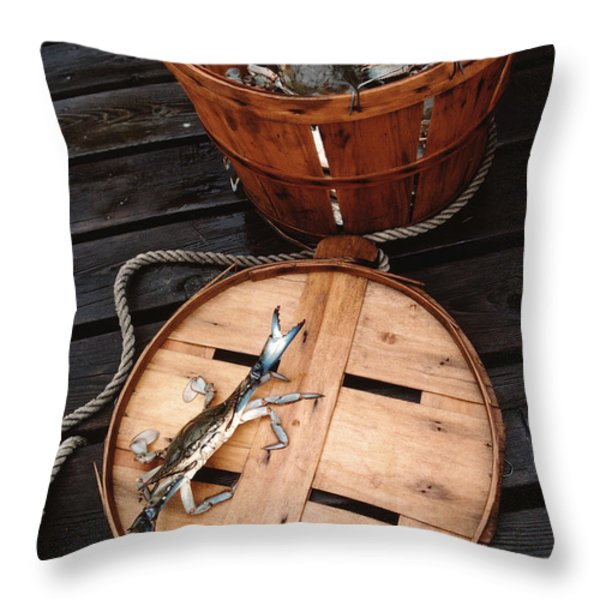 THE CRANKY CRAB Throw Pillow by Skip Willits