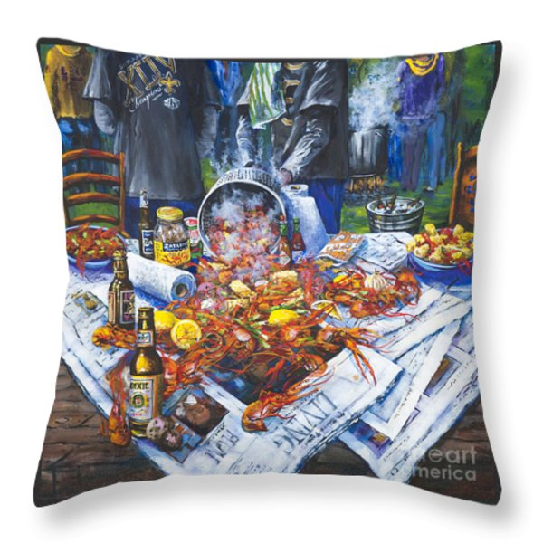 The Crawfish Boil Throw Pillow by Dianne Parks