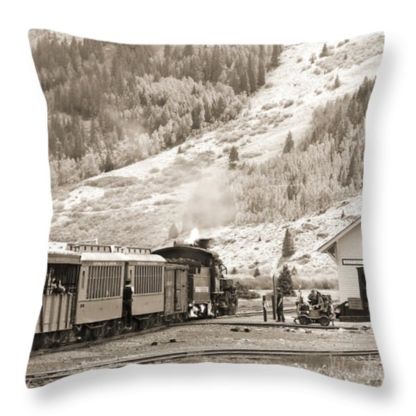 The D and S Pulls Into The station Throw Pillow by Mike McGlothlen