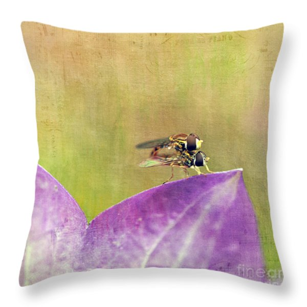 The Dance Of The Hoverfly Throw Pillow by Cindi Ressler