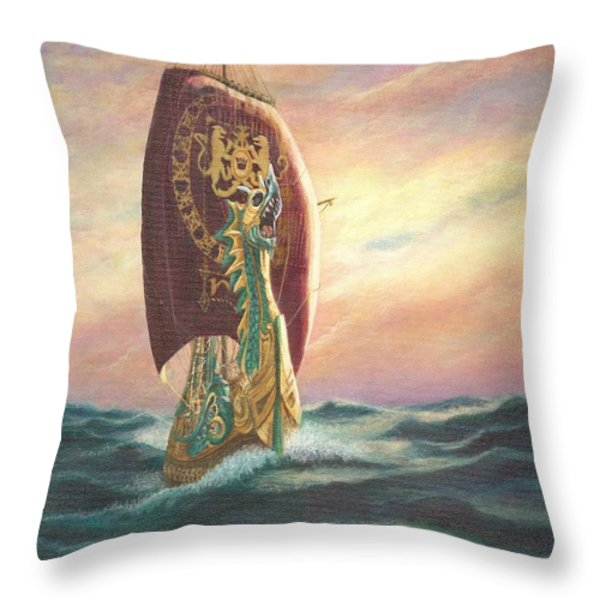 The Dawn Treader - Riding The Waves Throw Pillow by Catherine Howard