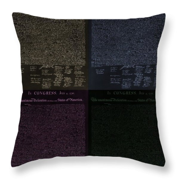 THE DECLARATION OF INDEPENDENCE in NEGATIVE COLORS Throw Pillow by ROB HANS