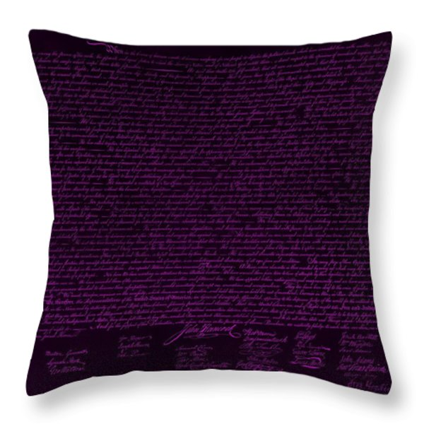 THE DECLARATION OF INDEPENDENCE in NEGATIVE PURPLE Throw Pillow by ROB HANS