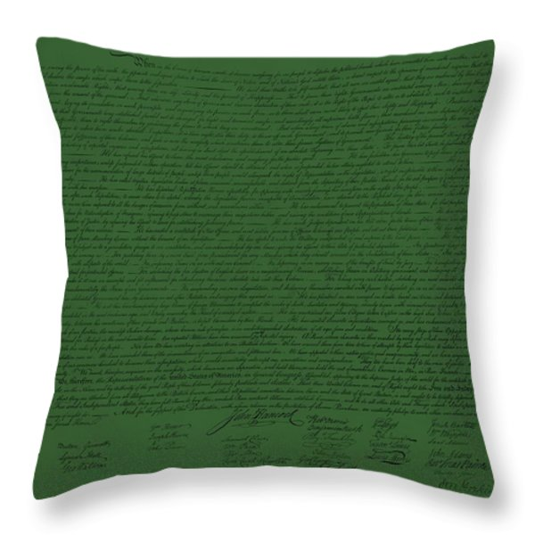 THE DECLARATION OF INDEPENDENCE in OLIVE Throw Pillow by ROB HANS
