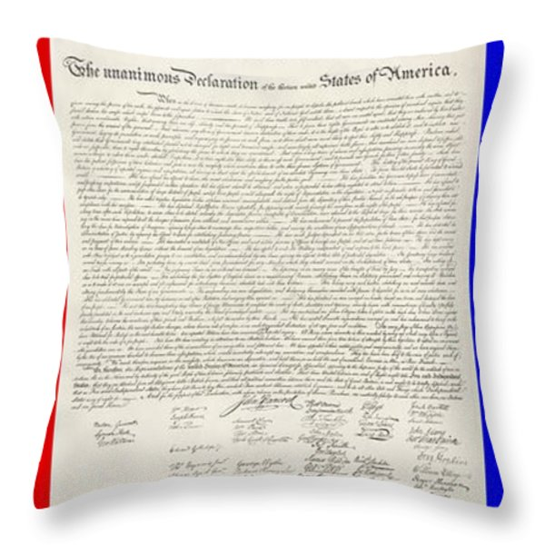THE DECLARATION OF INDEPENDENCE in RED WHITE AND BLUE Throw Pillow by ROB HANS