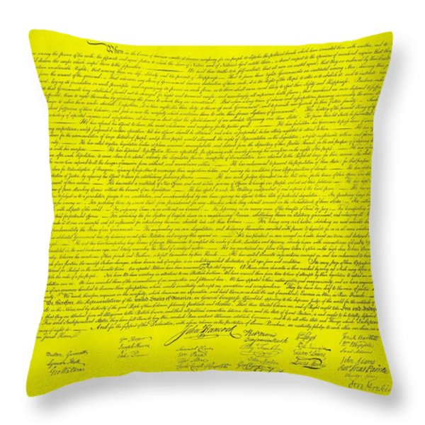THE DECLARATION OF INDEPENDENCE in YELLOW Throw Pillow by ROB HANS
