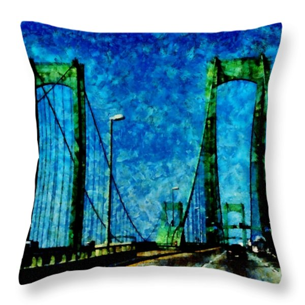 The Delaware Memorial Bridge Throw Pillow by Angelina Vick