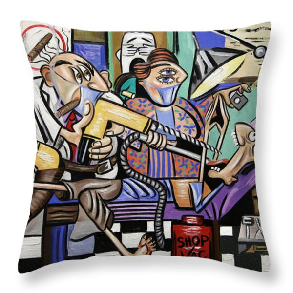 The Dentist Is In Root Canal Throw Pillow by Anthony Falbo