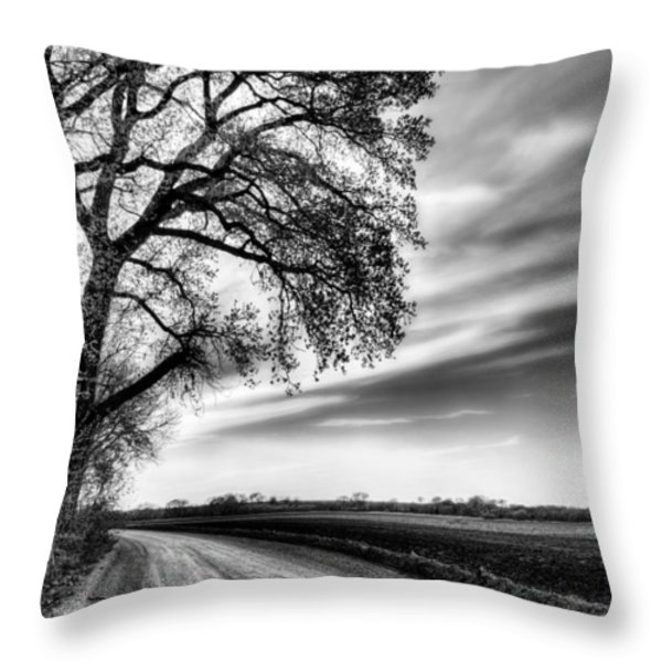 The Dirt Road in Black and White Throw Pillow by JC Findley