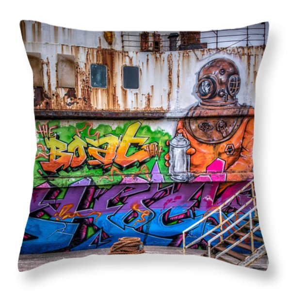 The Diver Throw Pillow by Adrian Evans