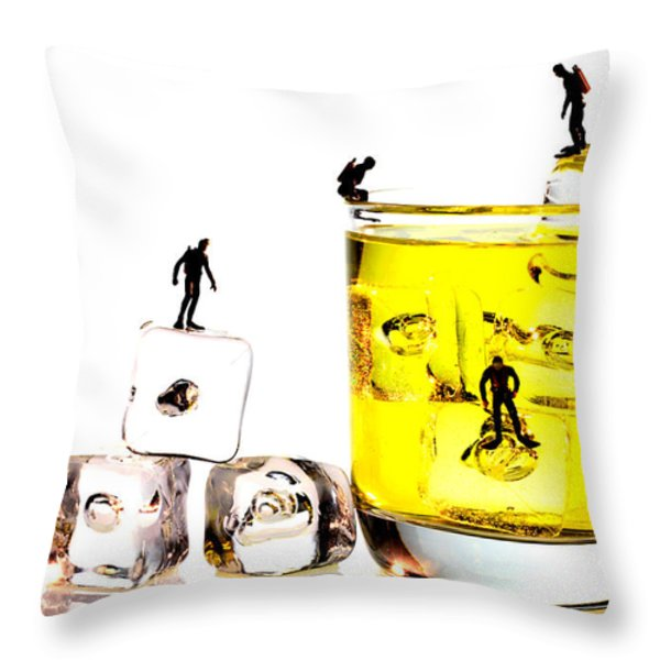 The diving little people on food Throw Pillow by Paul Ge