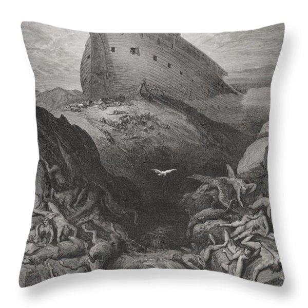 The Dove Sent Forth From The Ark Throw Pillow by Gustave Dore