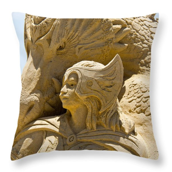 The Dragon And The Goddess Throw Pillow by Tom Gari Gallery-Three-Photography