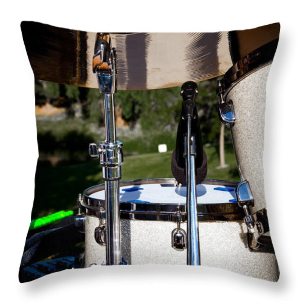 The Drum Set Throw Pillow by David Patterson