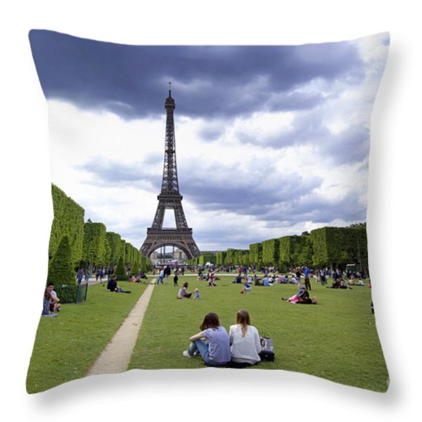 The Eiffel Tower And The Champ De Mars. Paris. France Throw Pillow by Bernard Jaubert