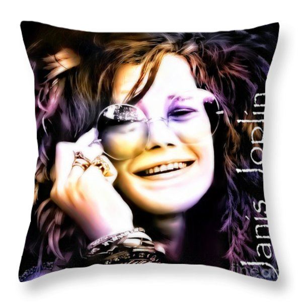 The Electric Janis Joplin Throw Pillow by Barbara Chichester