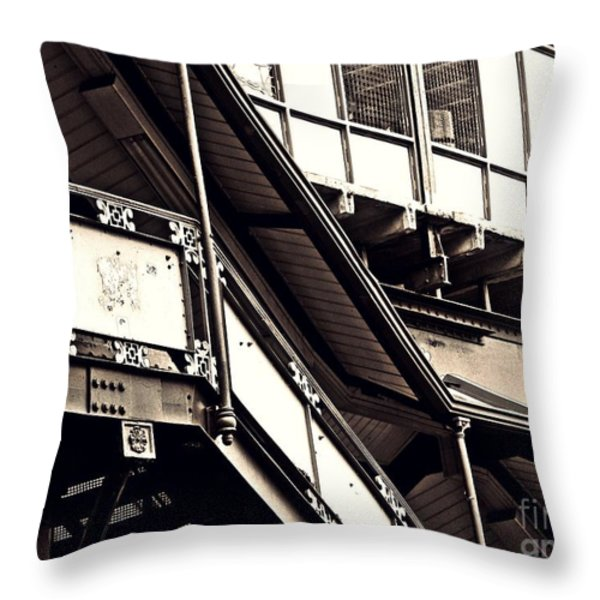 The Elevated Station At 125th Street 2 Throw Pillow by Sarah Loft