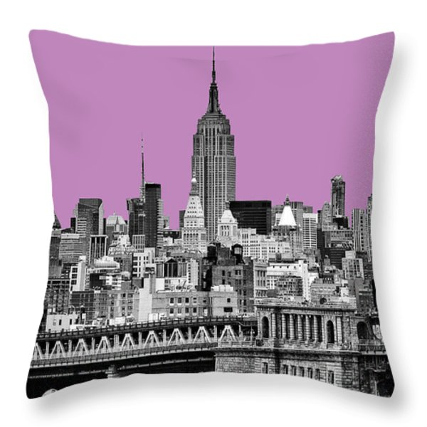 The Empire State Building pantone african violet Throw Pillow by John Farnan