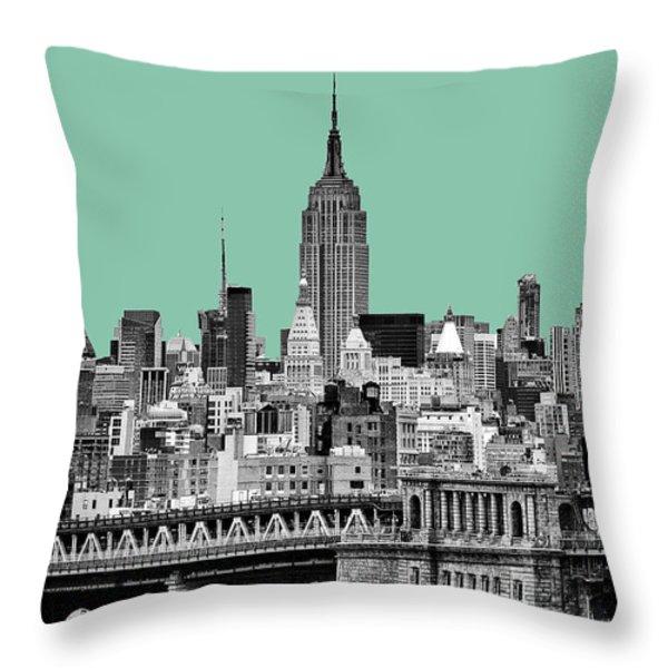 The Empire State Building Pantone Jade Throw Pillow by John Farnan