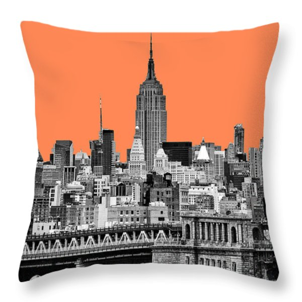 The Empire State Building pantone nectarine Throw Pillow by John Farnan