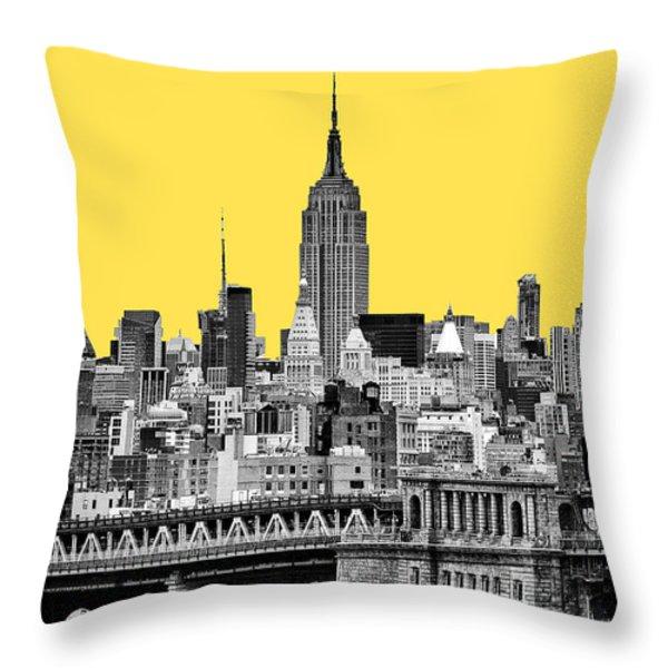 The Empire State Building pantone yellow Throw Pillow by John Farnan