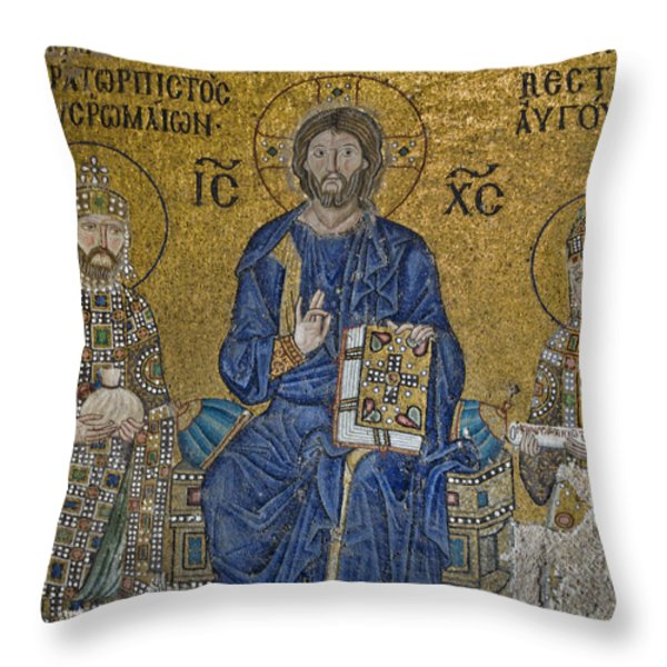 The Empress Zoe mosaics on the eastern wall of the southern gallery in Hagia Sophia  Throw Pillow by Ayhan Altun