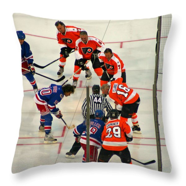 The Faceoff Throw Pillow by David Rucker