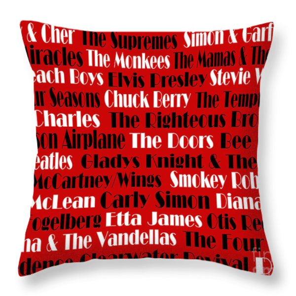 The Faces Of Rock And Roll 2  Throw Pillow by Andee Design