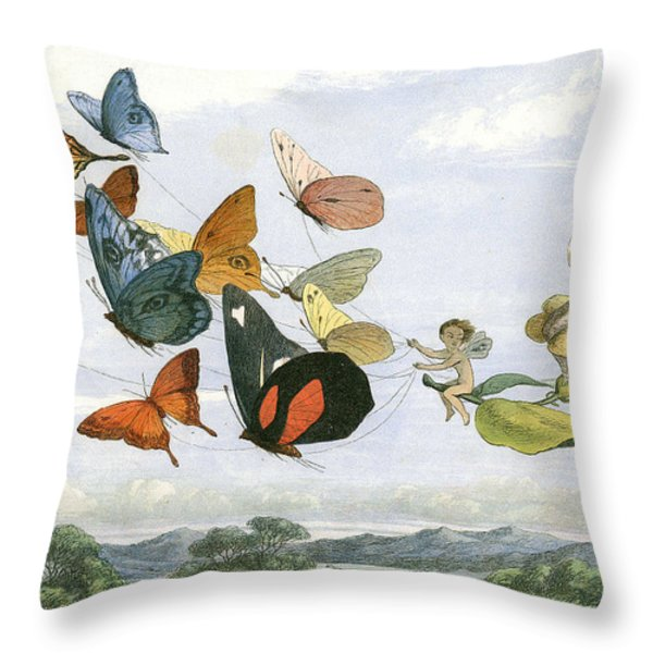 The Fair Queen Takes and Airy Drive In Fairy Land Throw Pillow by Unknown