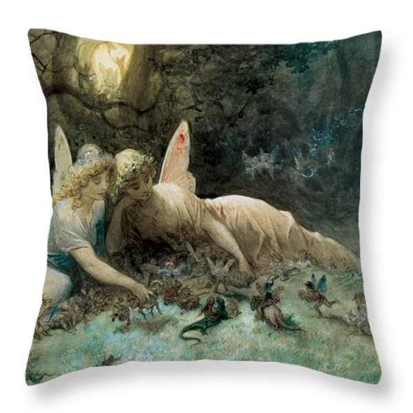 The Fairies From William Shakespeare Scene Throw Pillow by Gustave Dore