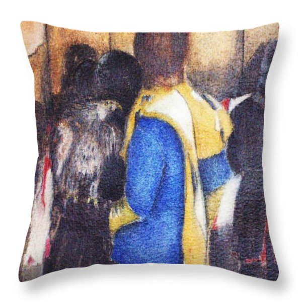 The Falconer Throw Pillow by Kaye Miller-Dewing