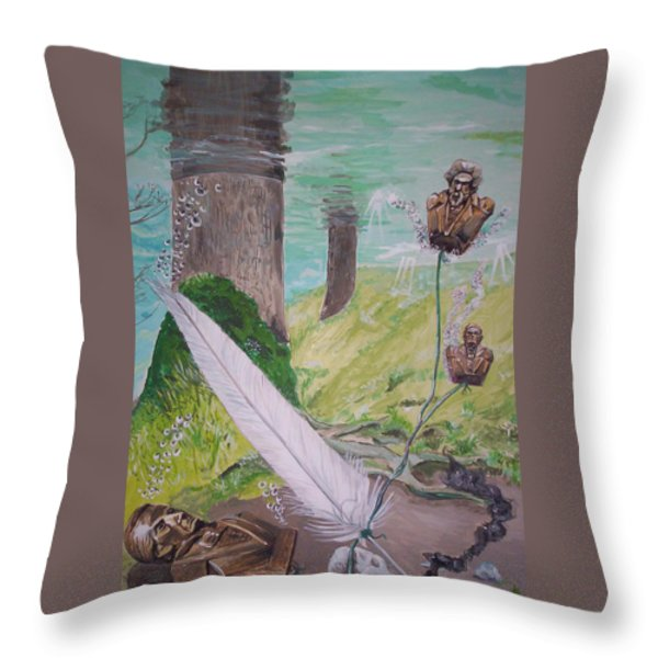 The Feather And The Word La Pluma Y La Palabra Throw Pillow by Lazaro Hurtado