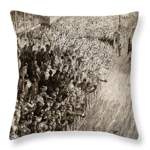 The Finishing Line Of The Derby Throw Pillow by Gustave Dore