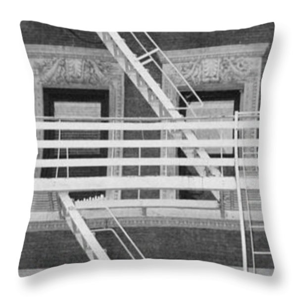 The Fire Escape In Black And White Throw Pillow by Rob Hans
