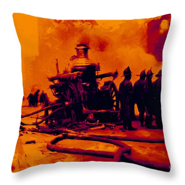 The Fire Fighters - 20130207 Throw Pillow by Wingsdomain Art and Photography