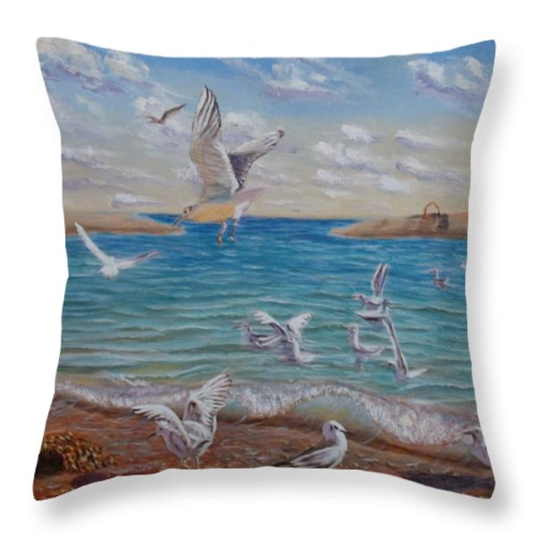 The First Inhabitants Of The New Land Throw Pillow by Elena Sokolova