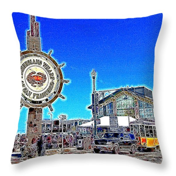 The Fishermans Wharf San Francisco California 7d14232 Artwork Throw Pillow by Wingsdomain Art and Photography
