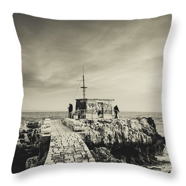 The Fishermen's Hut Throw Pillow by Marco Oliveira