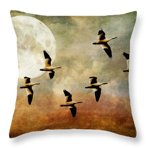 The Flight Of The Snow Geese Throw Pillow by Lois Bryan
