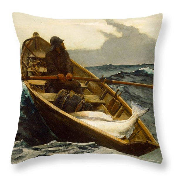 The Fog Warning Throw Pillow by Winslow Homer