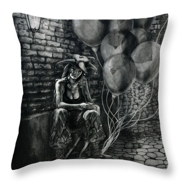 The Fool Dreamer Drawing Throw Pillow by Kd Neeley
