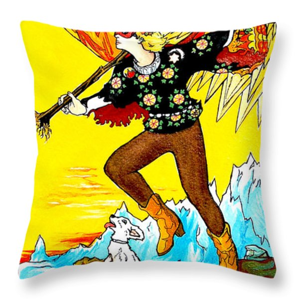 The Fool Throw Pillow by Joseph Demaree