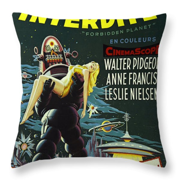 The Forbidden Planet Vintage Movie Poster Throw Pillow by Bob Christopher